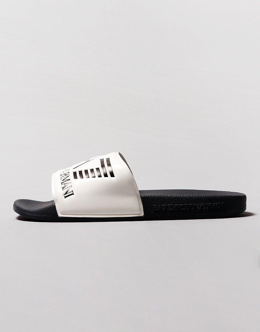 EA7 Poly Slides  White/Navy