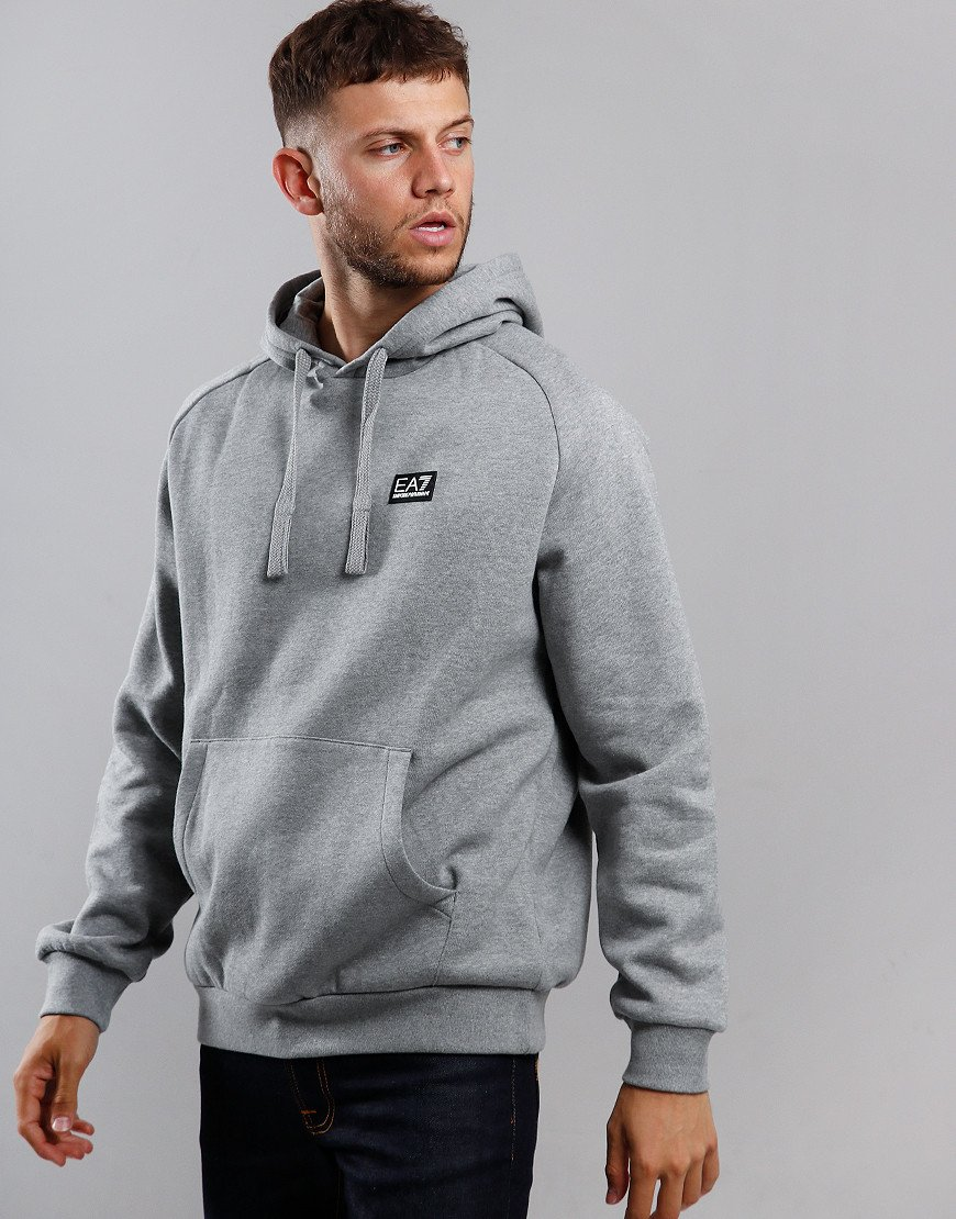 EA7 Small Logo Overhead Hoodie Medium Grey Melange