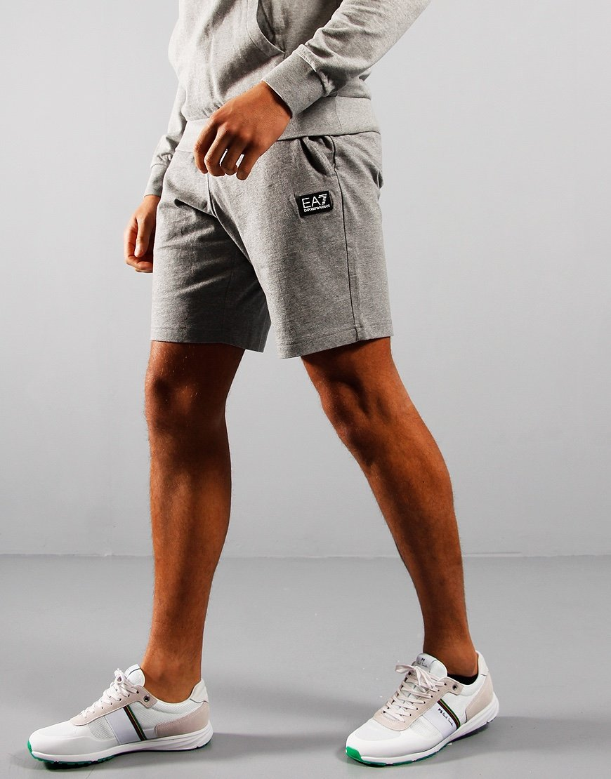 EA7 Small Logo Sweat Shorts Mid Grey Marl