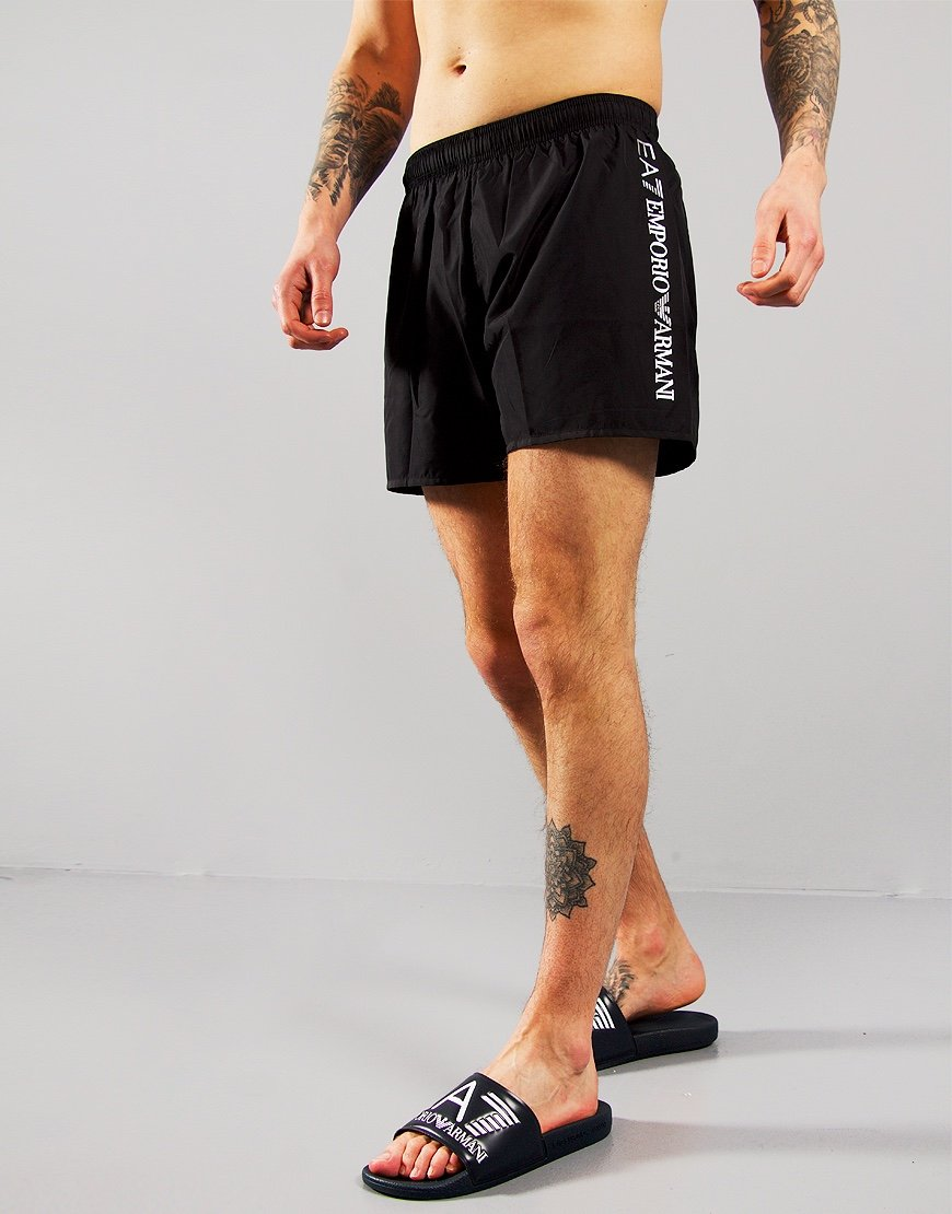 EA7 Reflective Logo Swim Shorts Black