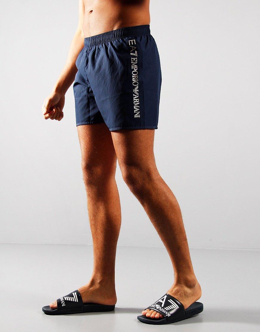 EA7 Reflective Logo Swim Shorts Navy