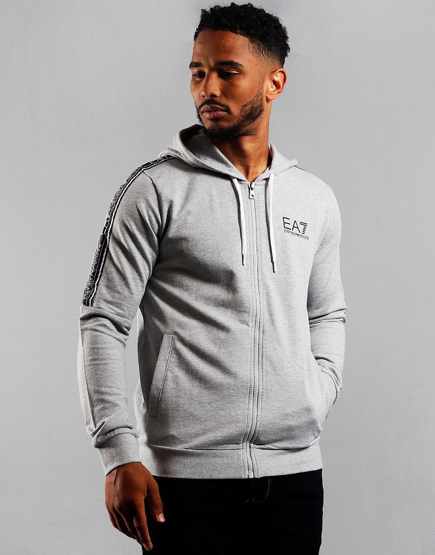 EA7 Taped Zip Hoodie Light Grey Melange