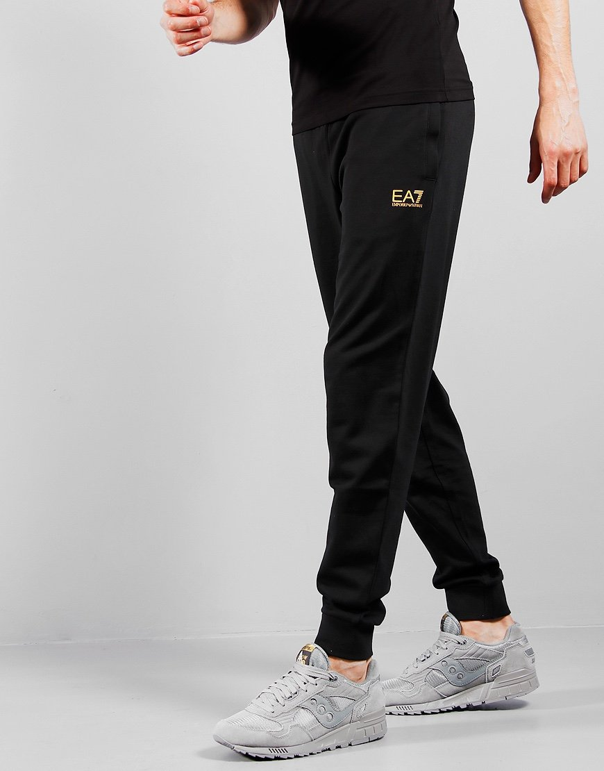 EA7 Cotton Jersey Jog Pants Black