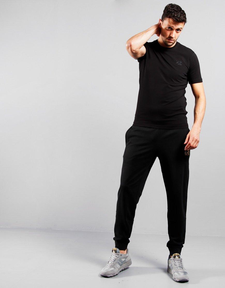EA7 Cotton Jersey Jog Pants Black