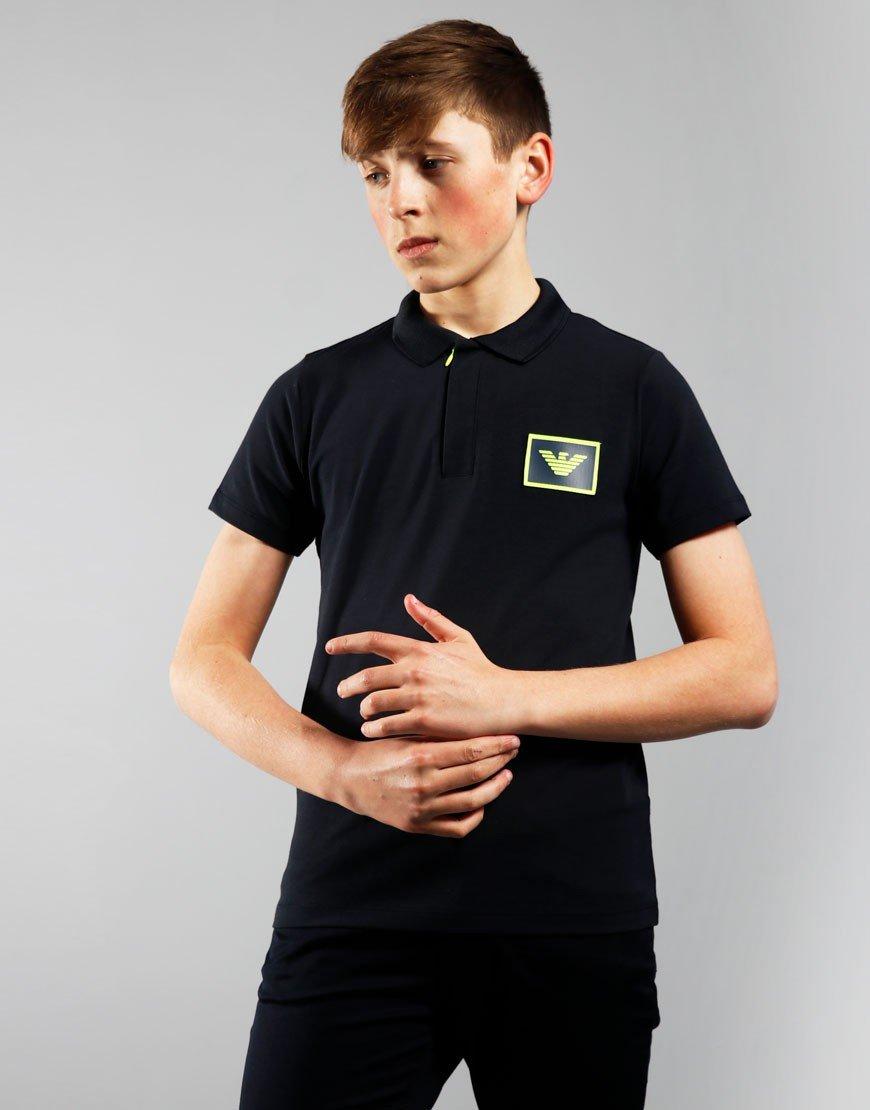 Armani Junior Zip Polo Shirt Navy