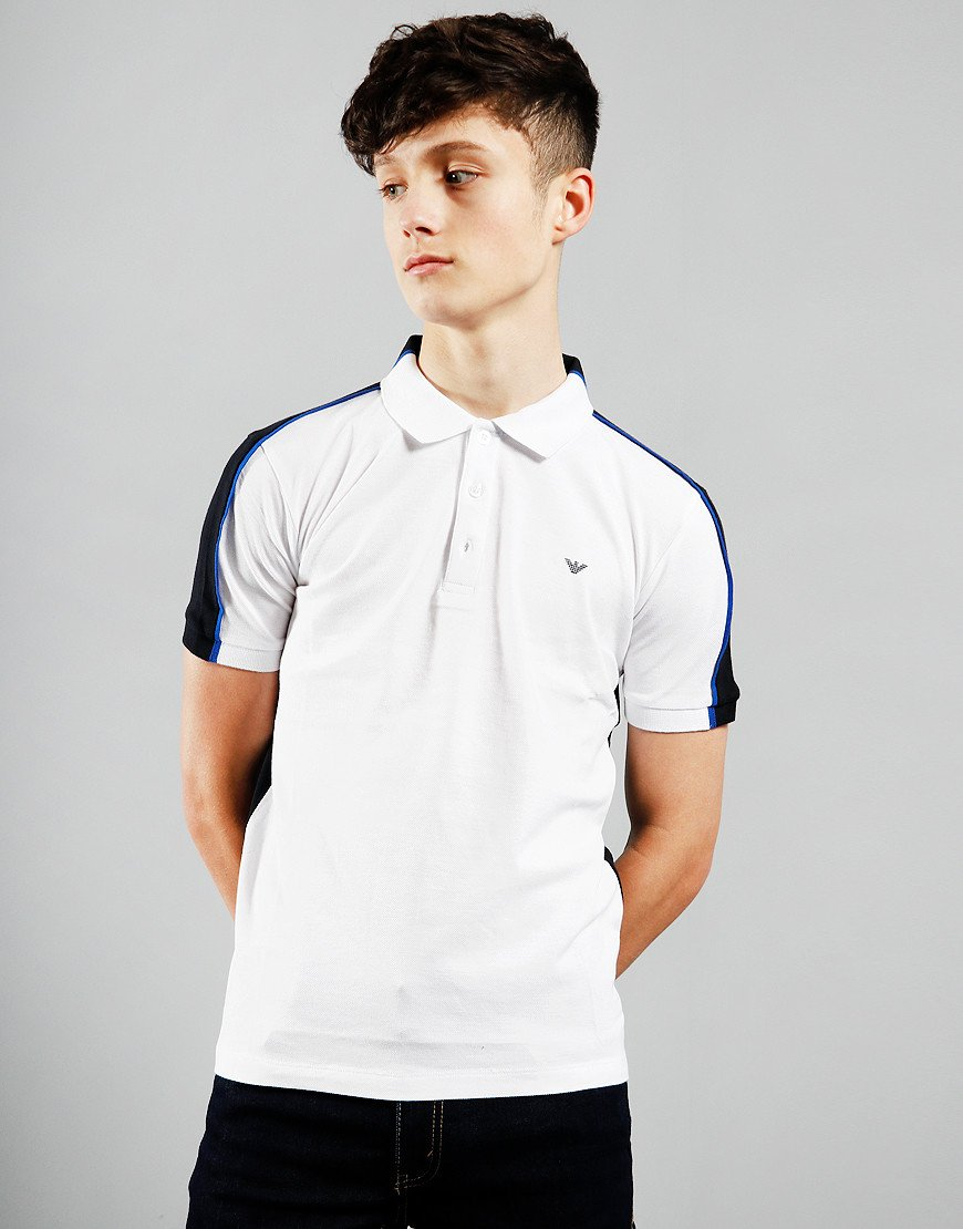 Armani Junior Colour Block Shoulder Polo Shirt White