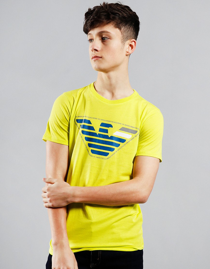 Armani Junior Eagle Brand Logo T-Shirt Yellow