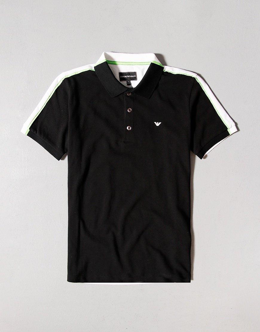 Armani Junior Colour Block Polo Shirt Black