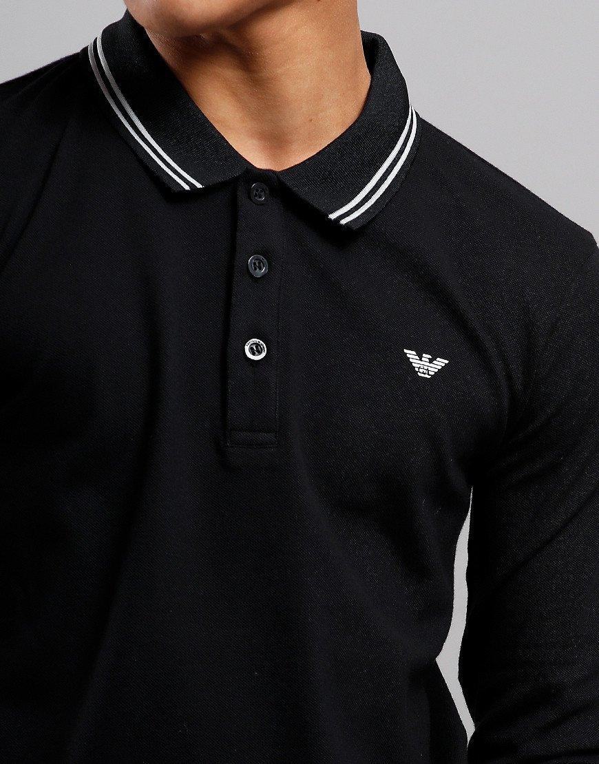 Armani Junior Tipped Long Sleeved Polo Shirt Black