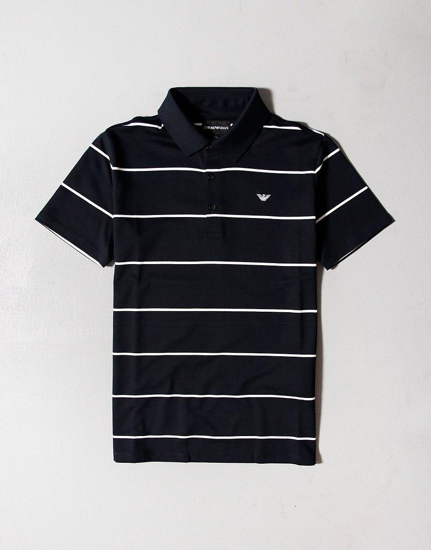 Armani Junior Large Stripe Polo Shirt Navy