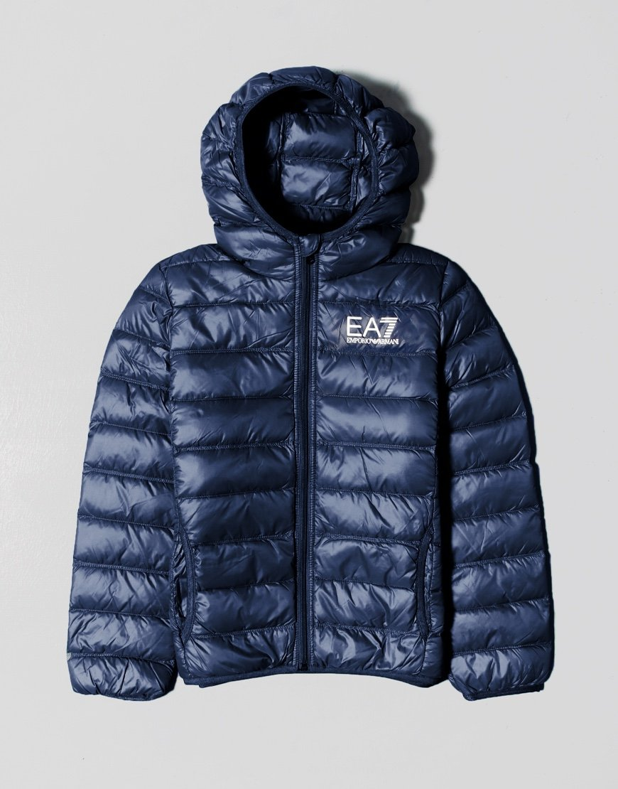 EA7 Kids Hooded Puffer Jacket Navy