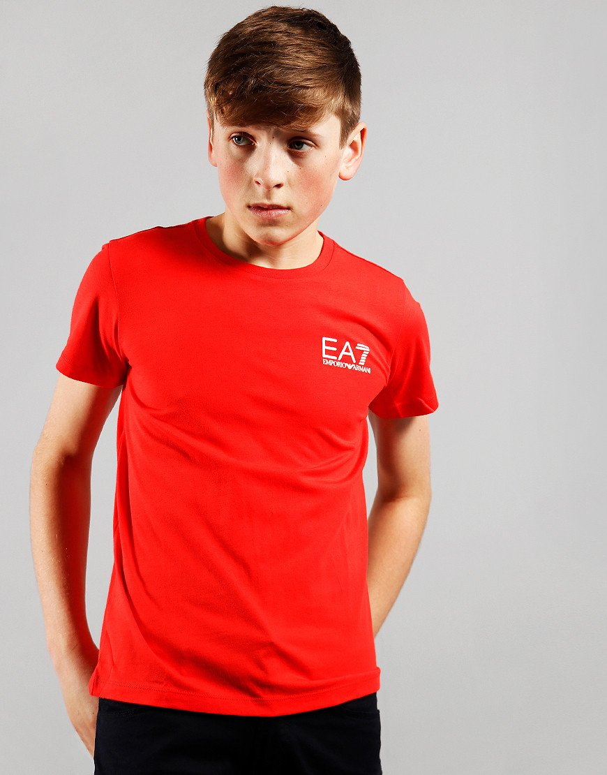EA7 Kids Chest Logo T-Shirt Poppy