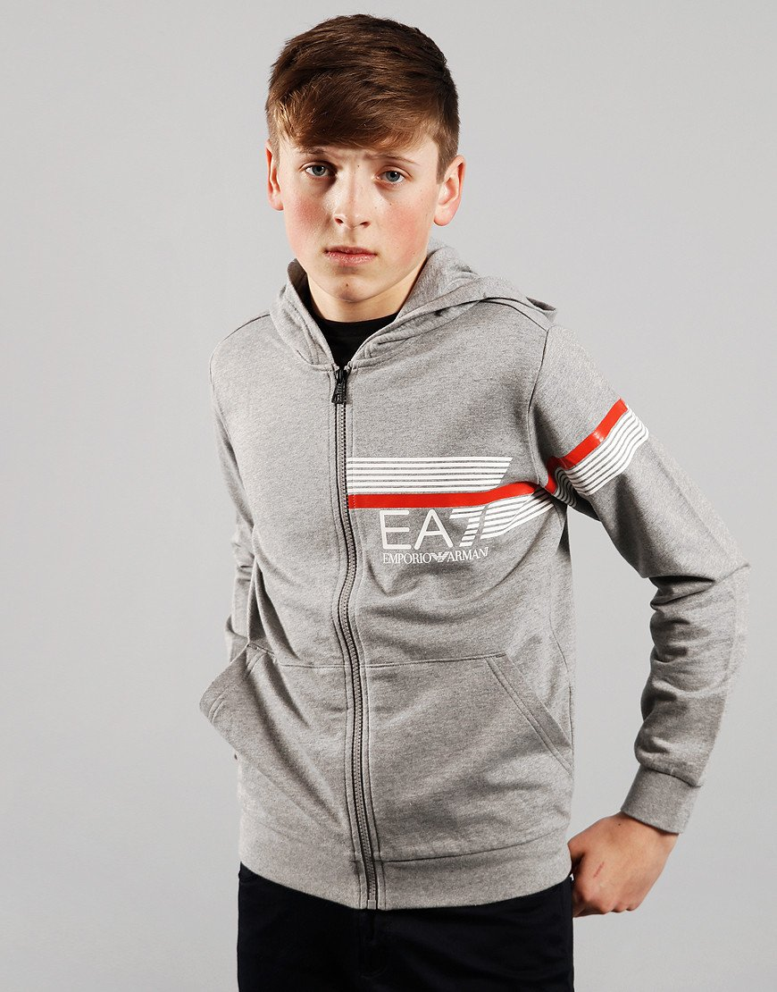 EA7 Kids Chest Zip Hooded Sweat Medium Grey Melange