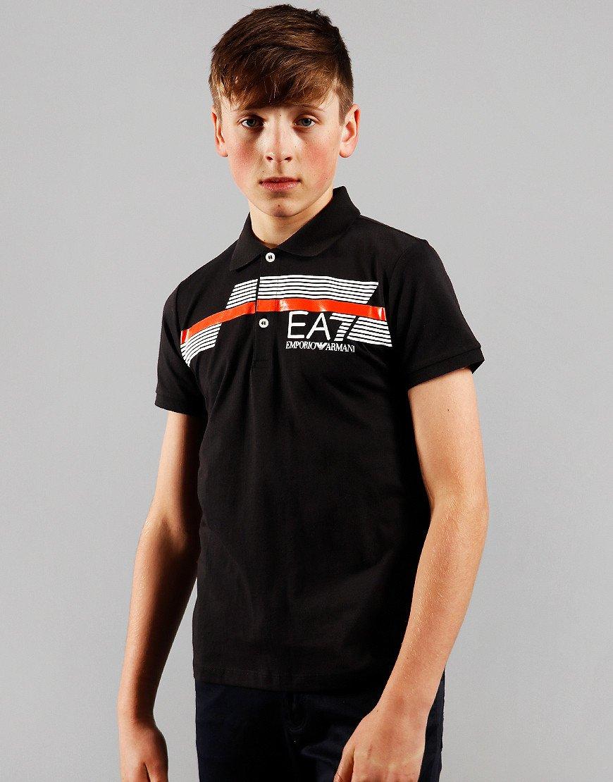 EA7 Emporio Armani Junior Colour Block Polo Shirt Black