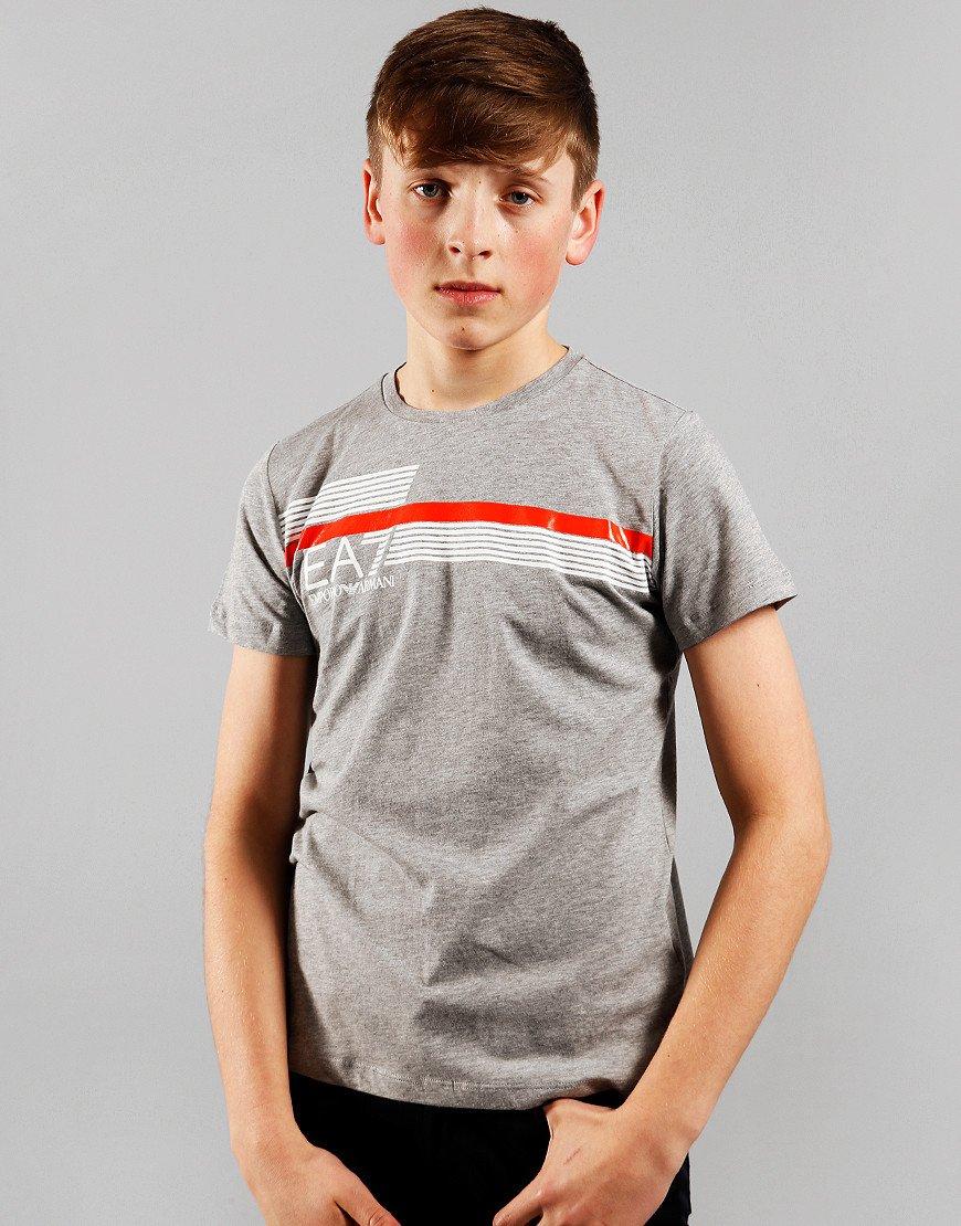 EA7 Emporio Armani Junior Print Logo T-Shirt Medium Grey Melange