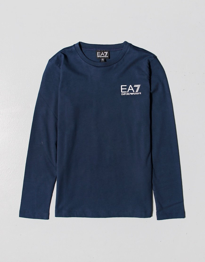 EA7 Kids Long Sleeve Logo T-shirt Navy