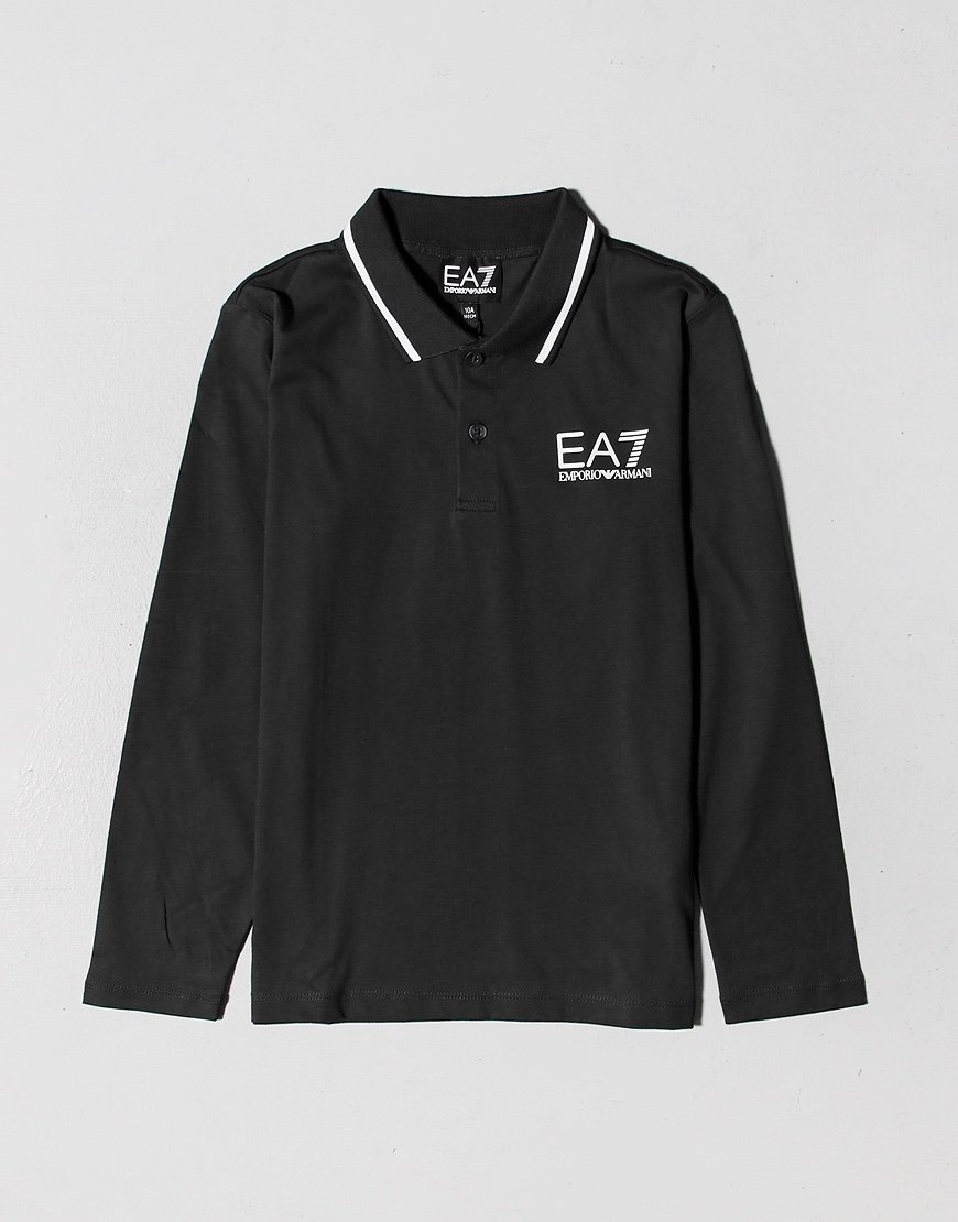 EA7 Kids Long Sleeve Tipped Polo Shirt Black