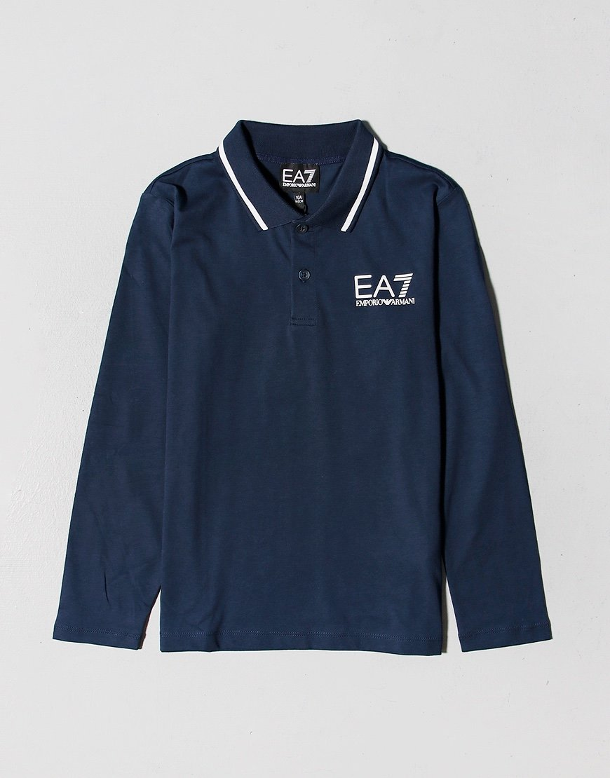 EA7 Kids Long Sleeve Tipped Polo Shirt Navy