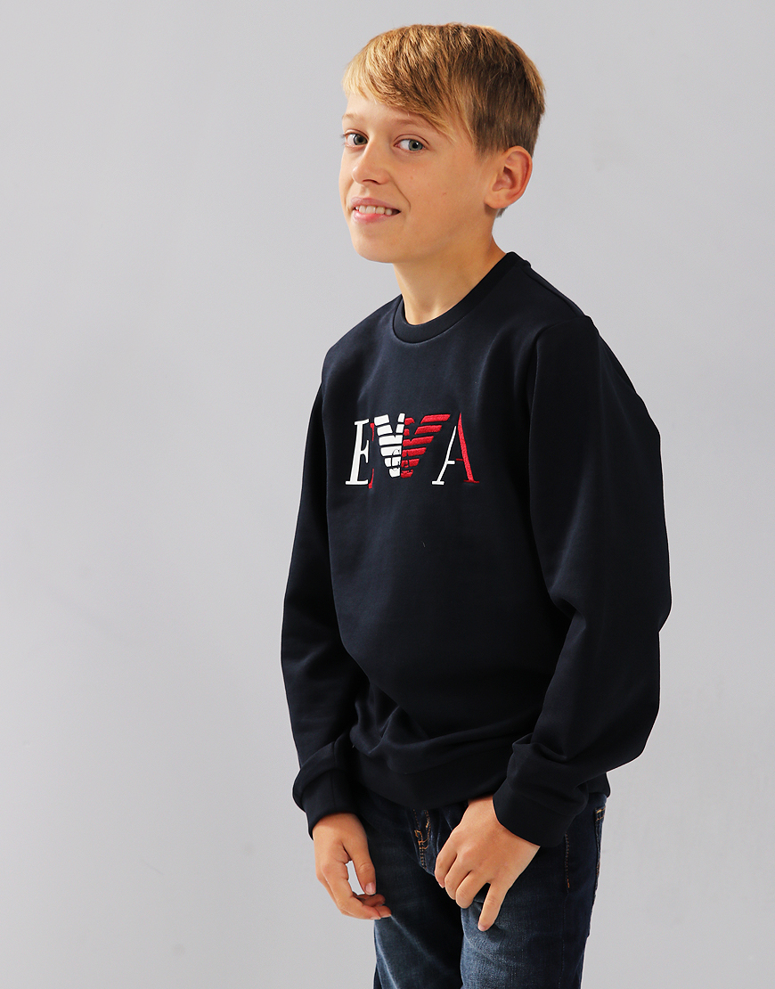Armani Junior Half Embroidered Logo Sweat Navy