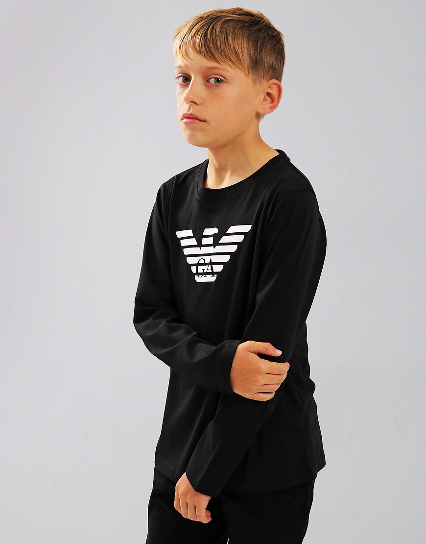 Armani Junior Long Sleeve T-Shirt Black