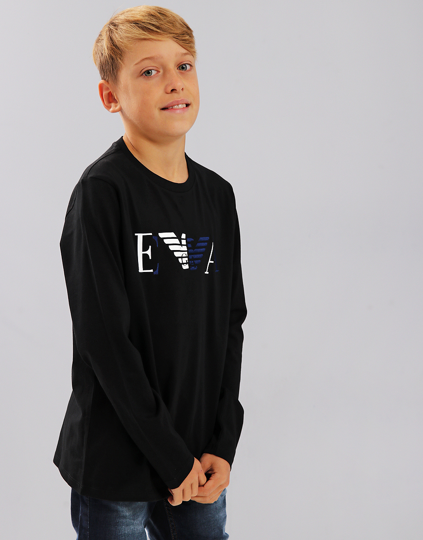 Armani Junior Long Sleeve Signature Logo T-Shirt Black