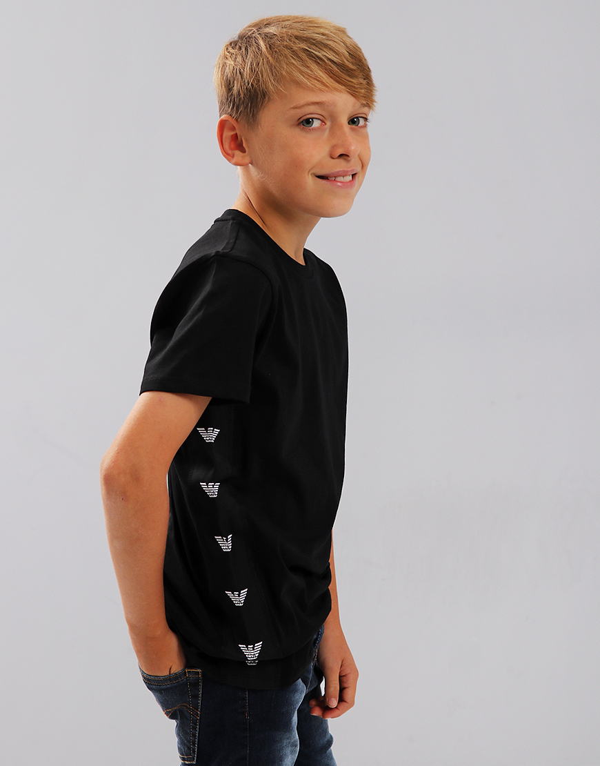Armani Junior Logo Taped T-Shirt Black