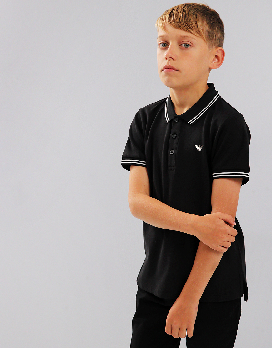 Armani Junior Tipped Polo Shirt Black