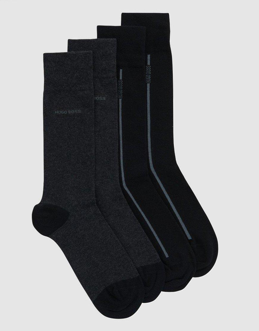 BOSS 2 Pack Logo Stripe Socks Charcoal