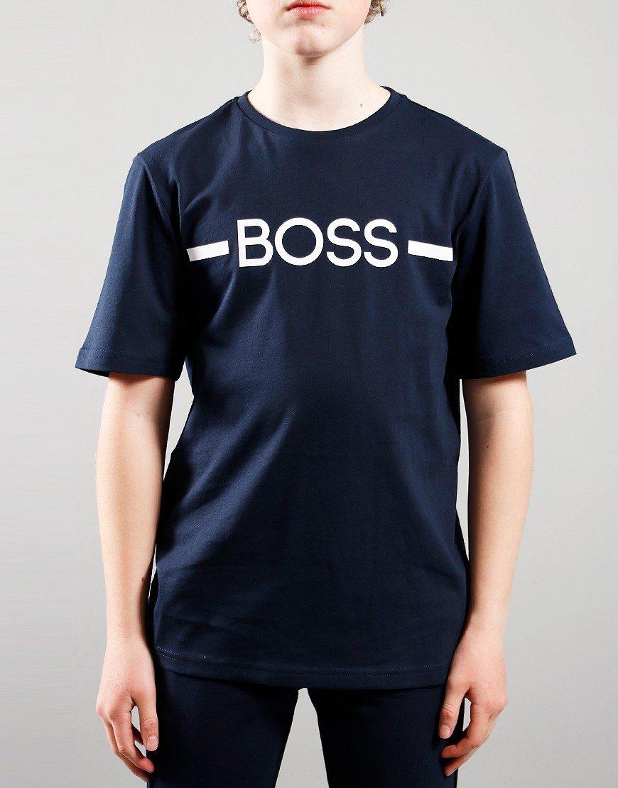 BOSS Kids Logo Print T-Shirt Navy