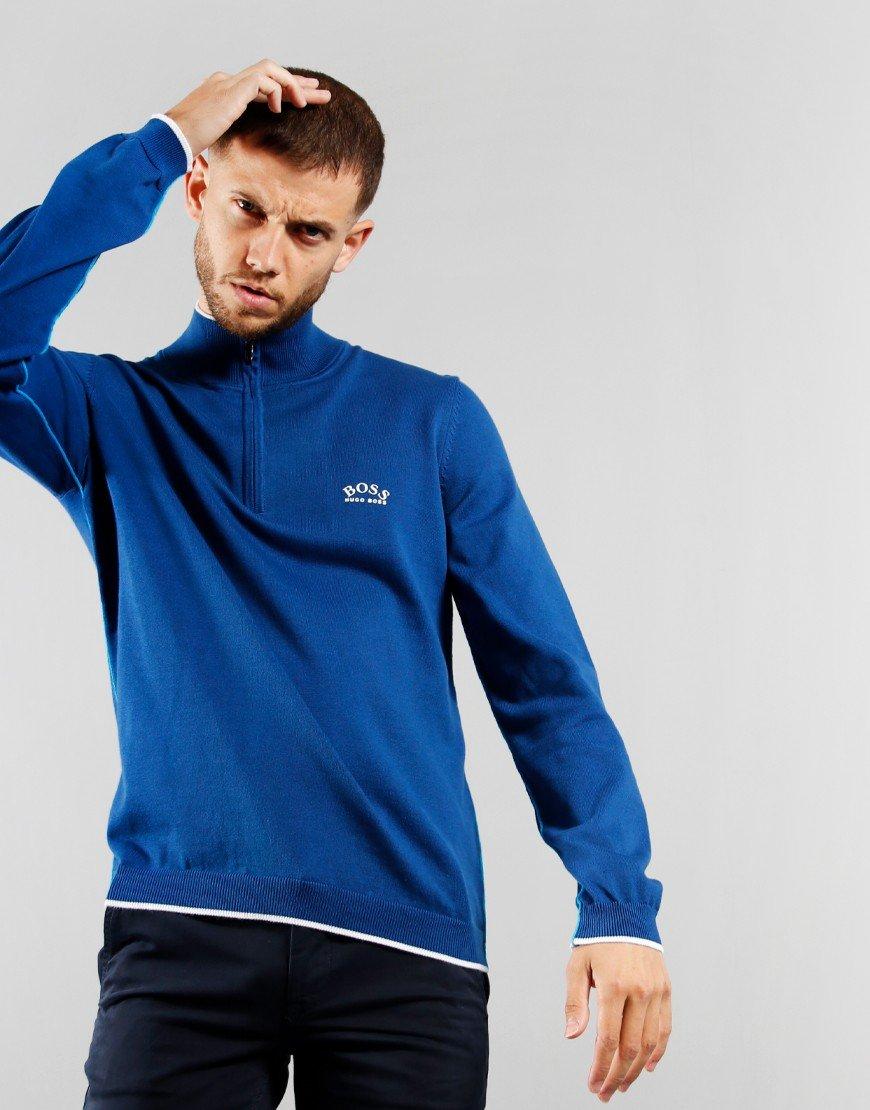 BOSS Ziston Half Zip Knitted Jumper Blue