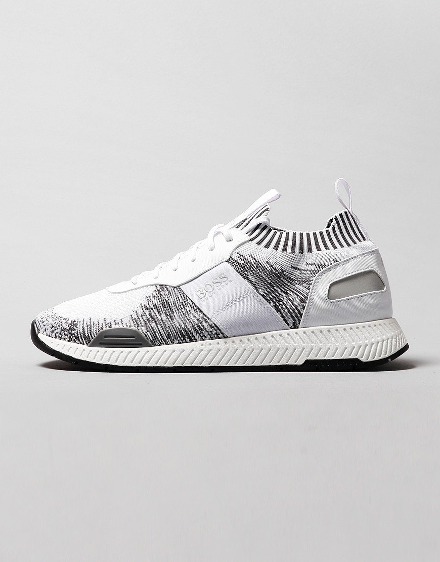 BOSS Titanium Knitted Running Trainers Open White