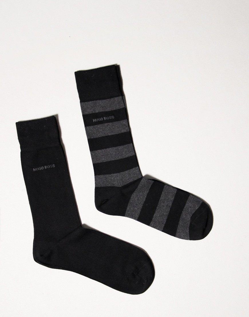 BOSS Bodywear 2 Pack Block Stripe Socks Black