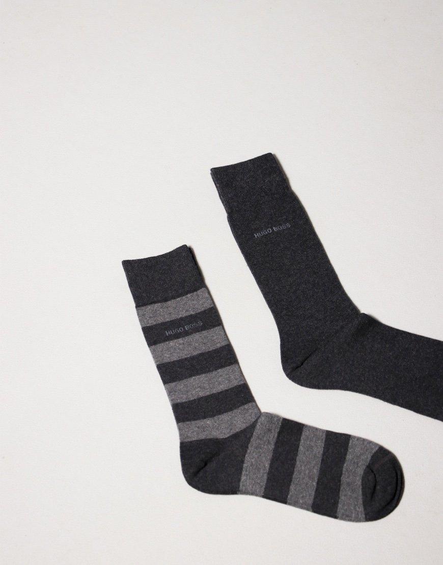 BOSS Bodywear 2 Pack Block Stripe Socks Charcoal