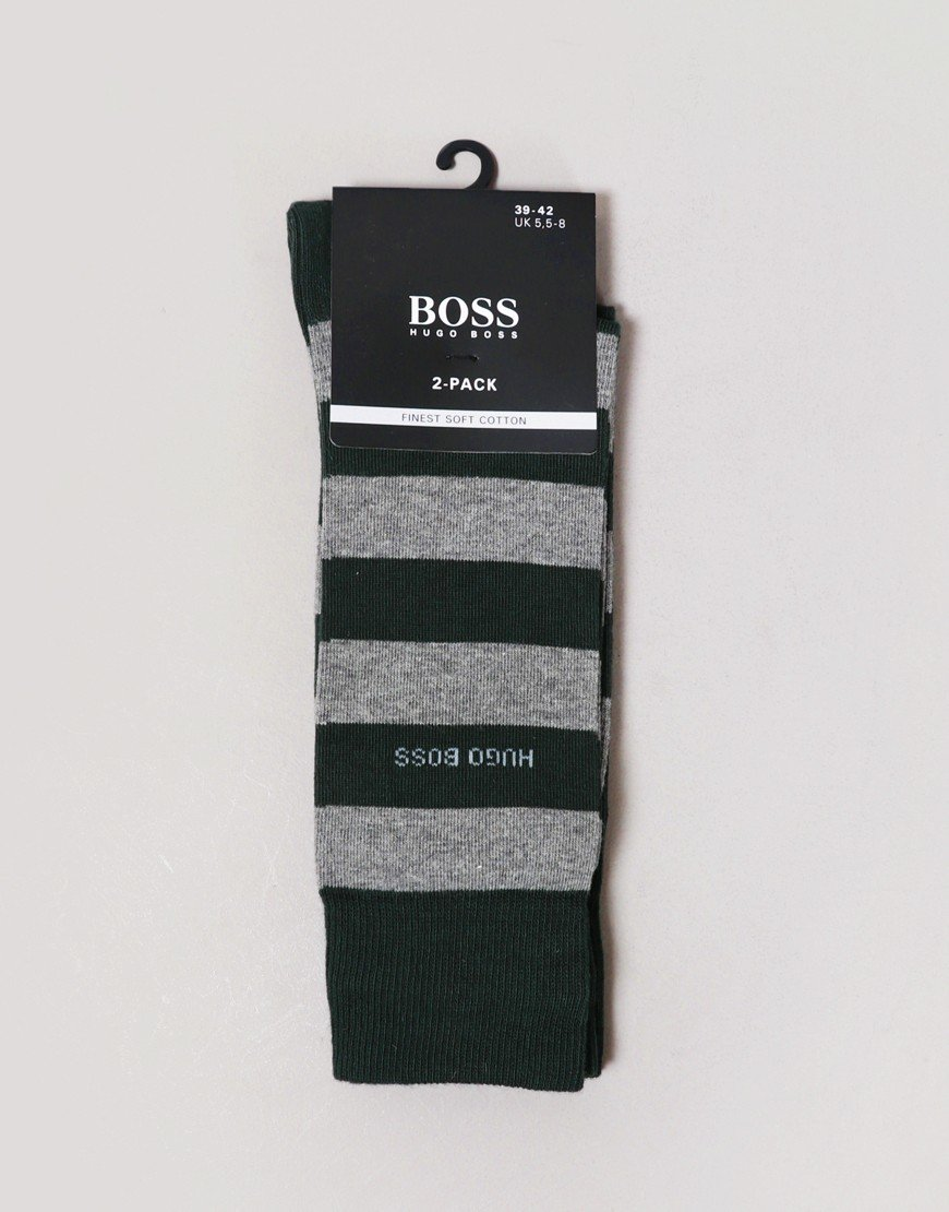 BOSS 2 Pack Socks Block Stripe Dark Green