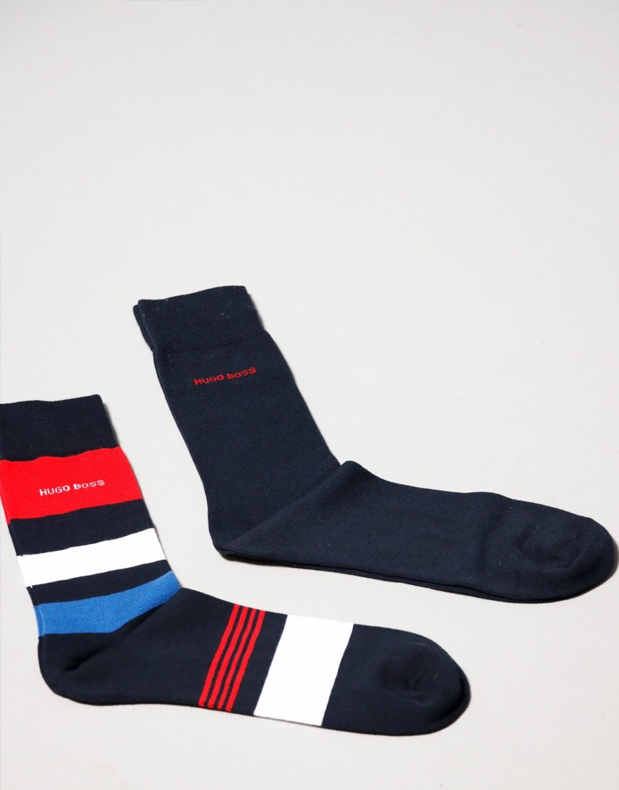BOSS Bodywear 2 Pack RS Stripe Socks Dark Blue
