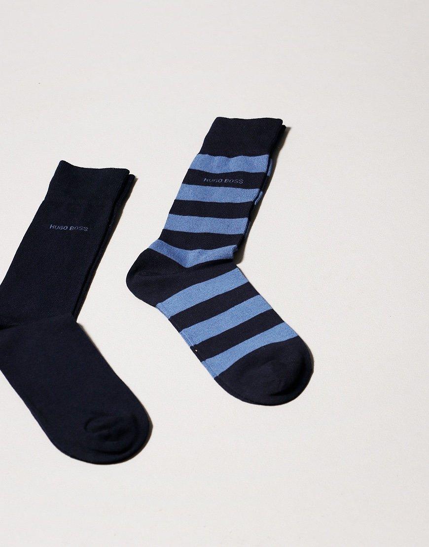 BOSS Bodywear 2 Pack Block Stripe Socks Dark Blue
