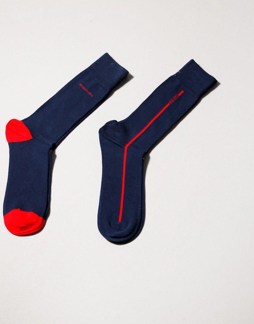 BOSS Bodywear 2 Pack RS Logo Stripe Socks Dark Blue
