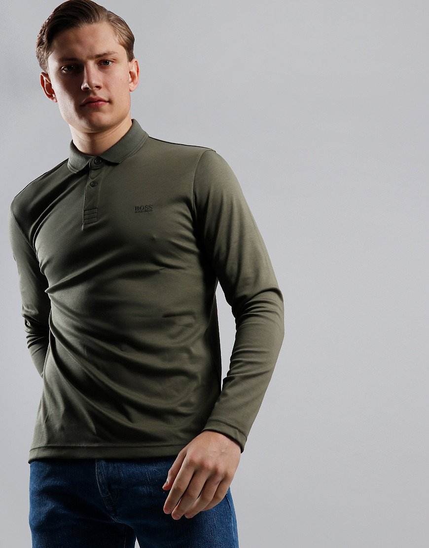 BOSS Pirol Long Sleeve Polo Shirt Dark Green