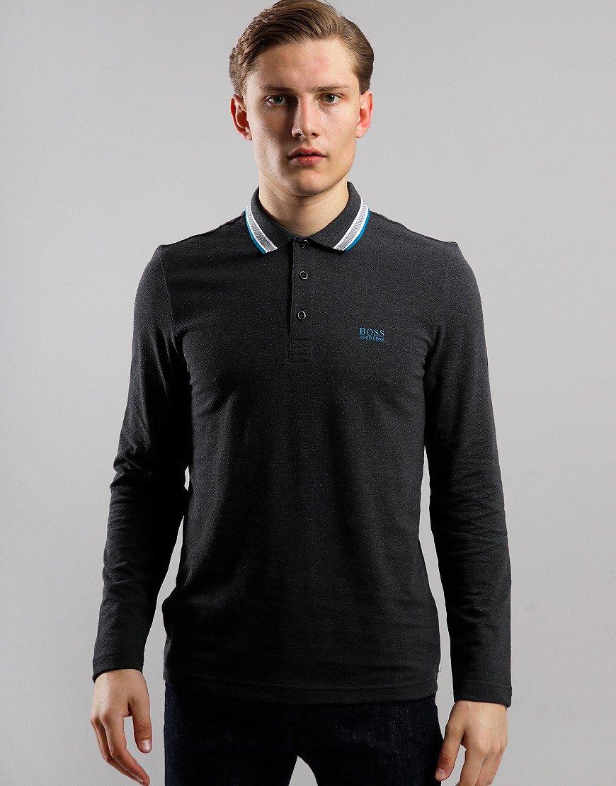BOSS Plisy Long Sleeve Polo Shirt Charcoal