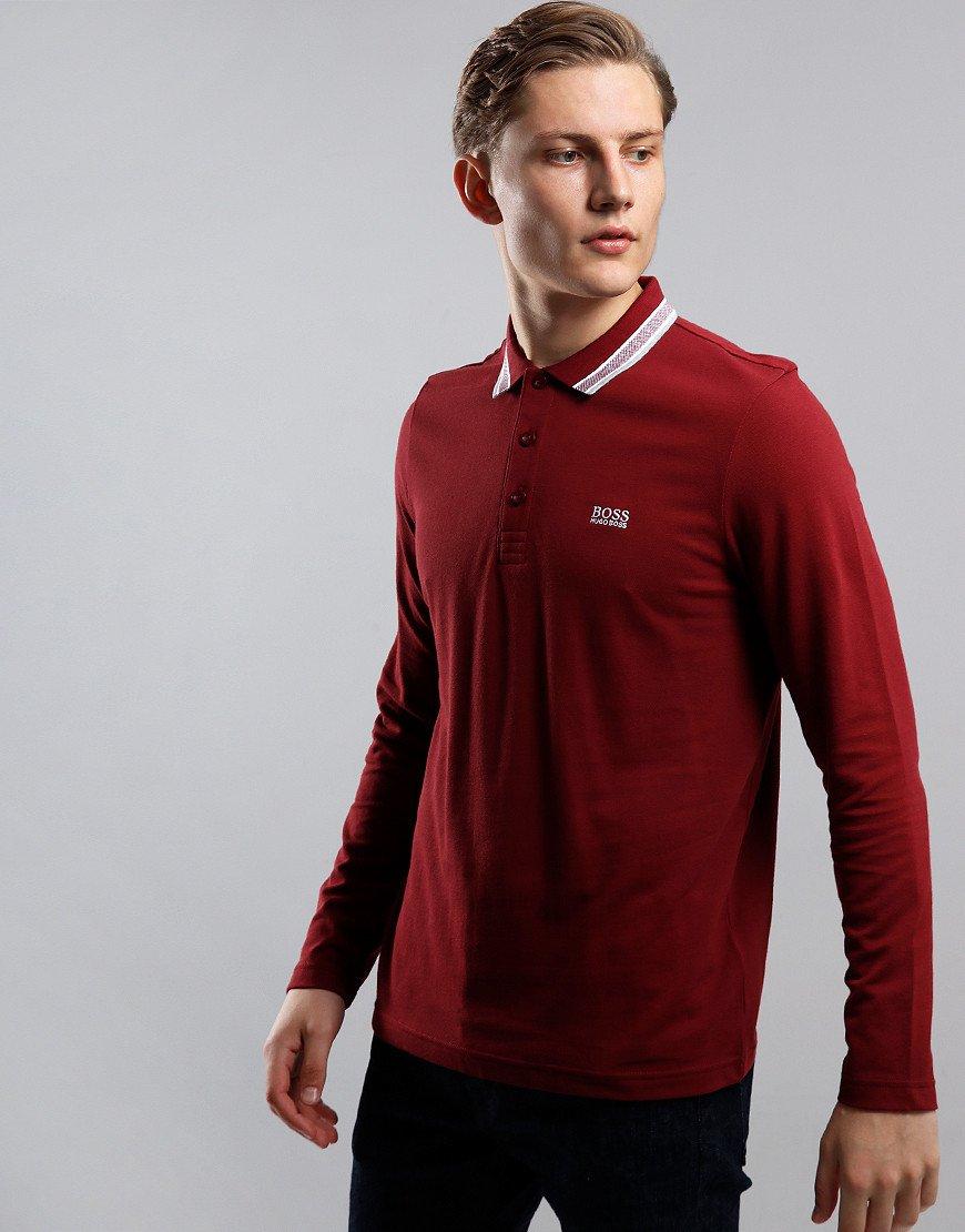 BOSS Plisy Long Sleeve Polo Shirt Dark Pink