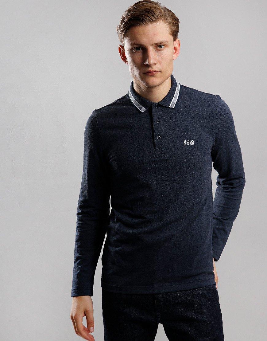 BOSS Plisy Long Sleeve Polo Shirt Open Blue