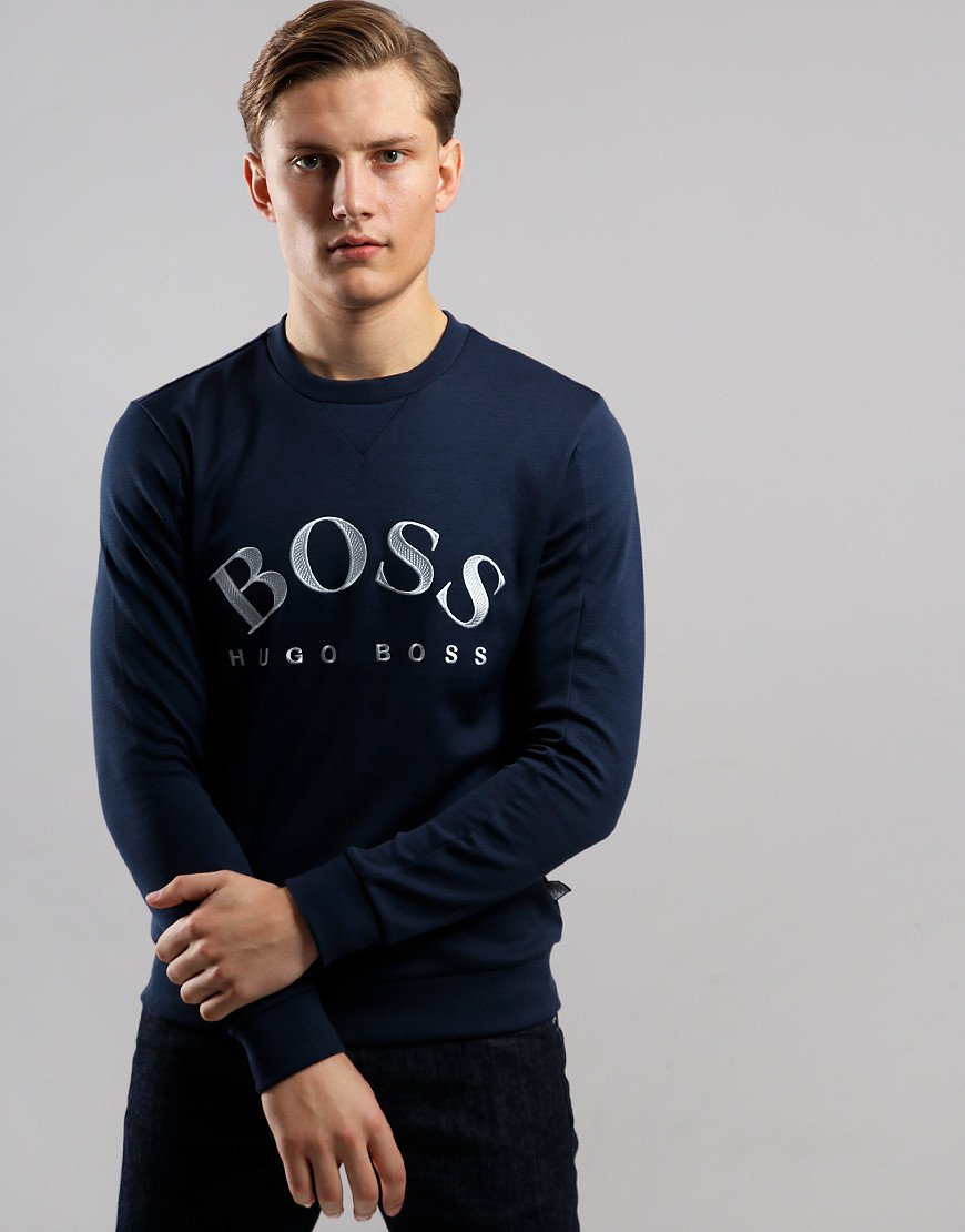 BOSS Salbo Embroidered Logo Sweat Navy