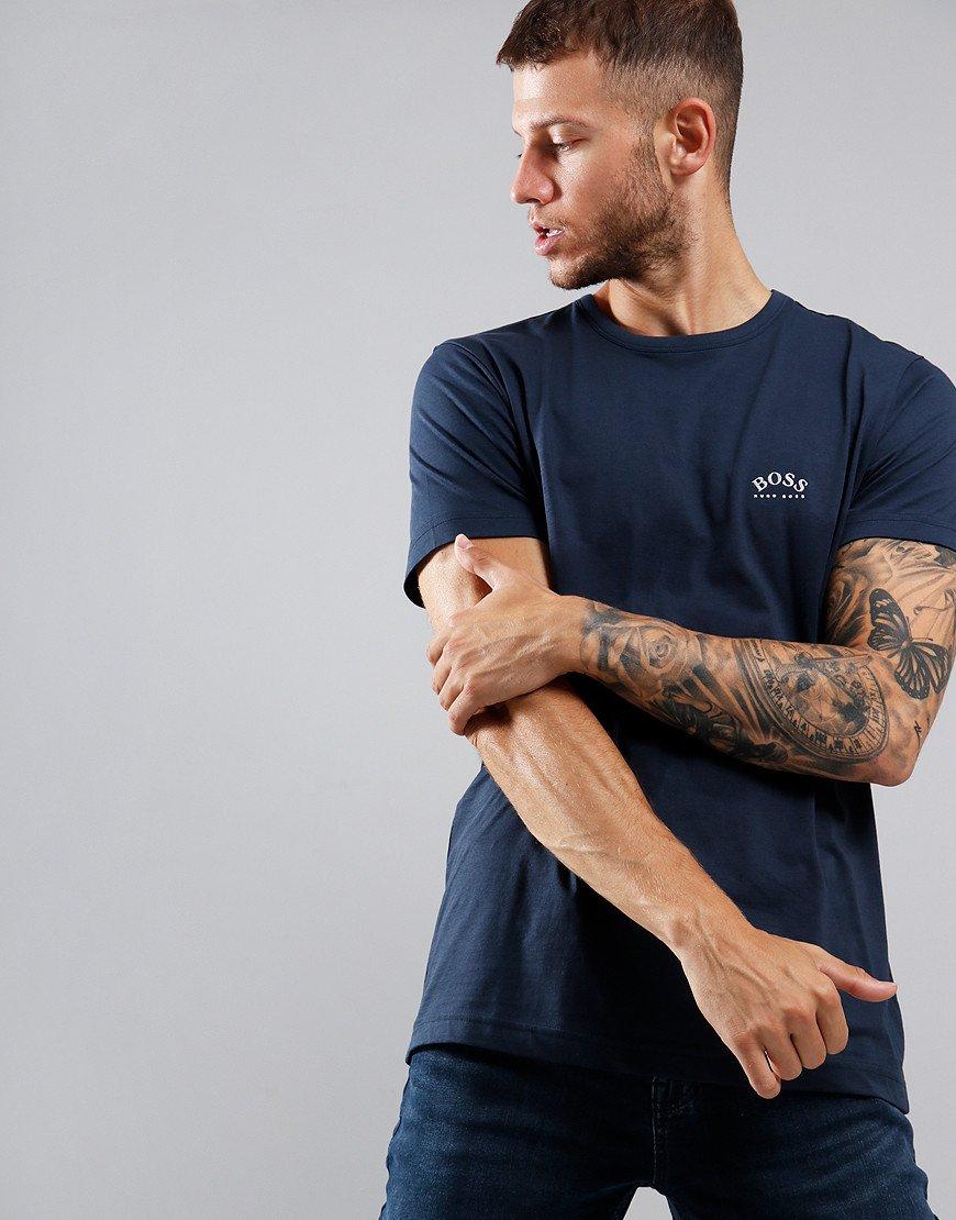 BOSS Curved Logo T-Shirt Navy