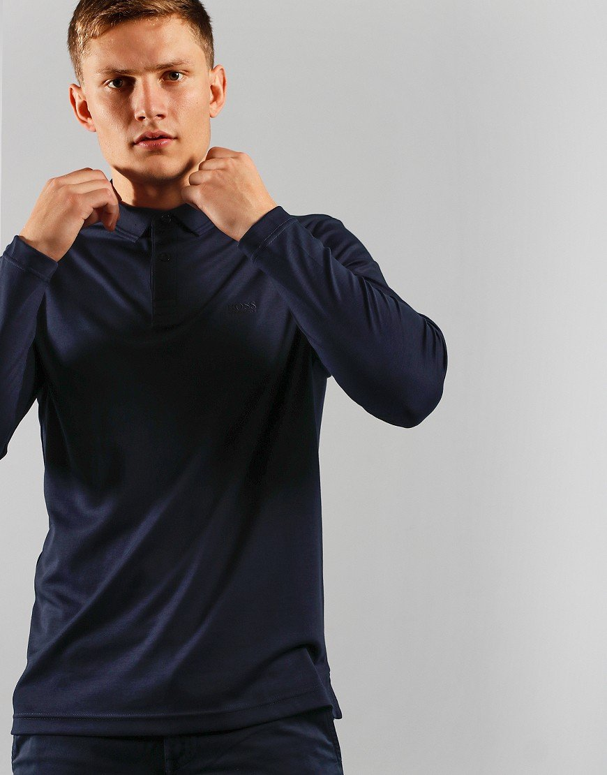 BOSS Athleisure Pirol Long Sleeve Polo Dark Blue