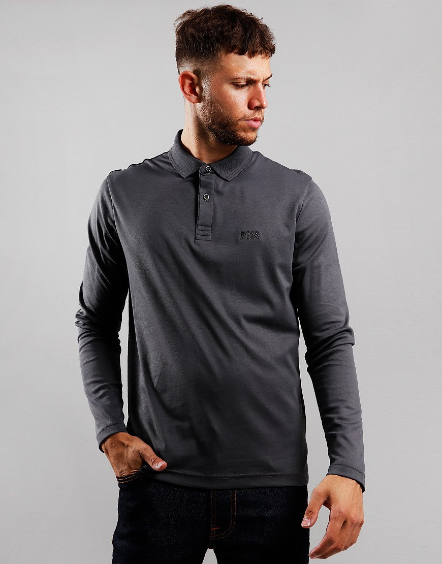 BOSS Pirol Long Sleeve Polo Shirt Grey