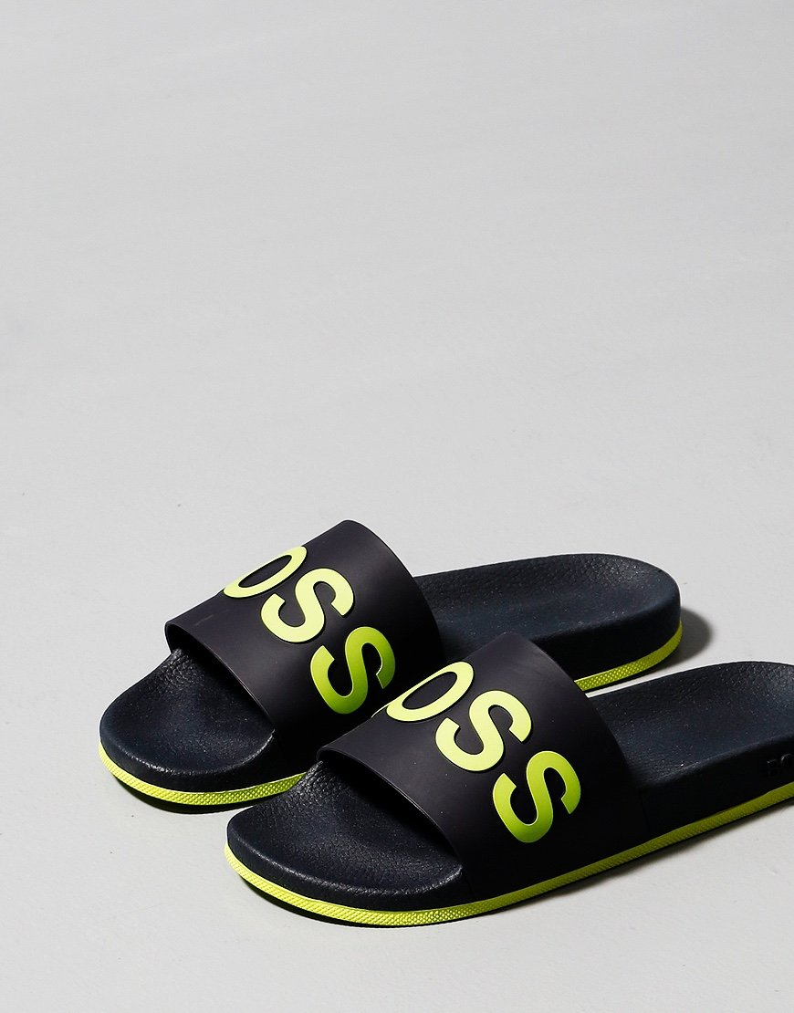 BOSS Bay Logo Slide Dark Blue