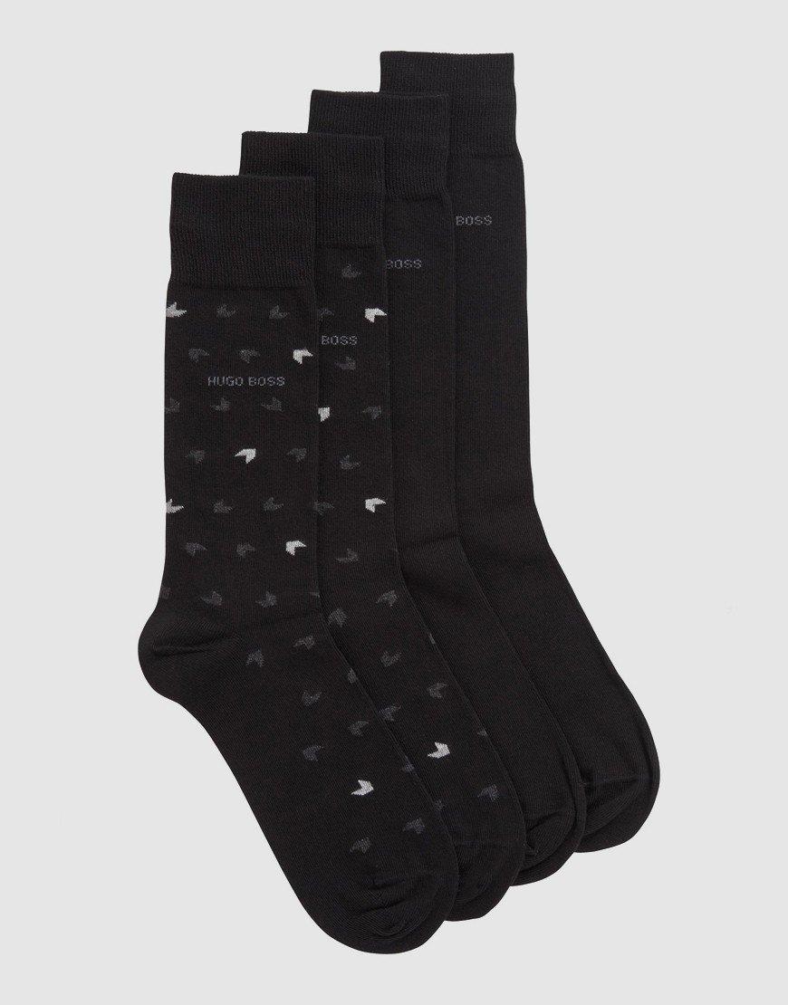 BOSS Two-Pack Regular-Length Socks Black