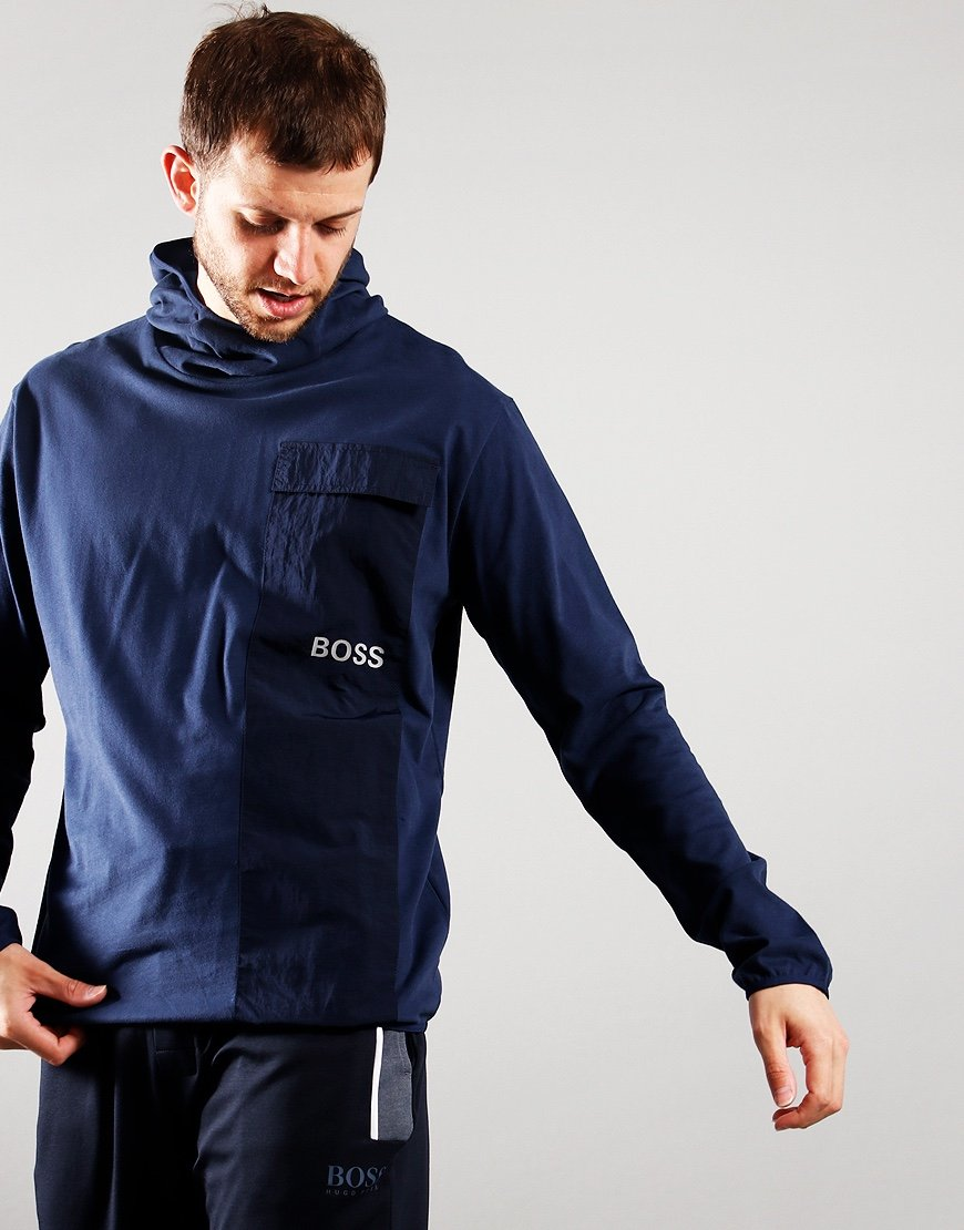 BOSS Long Sleeve Hooded T-Shirt Navy
