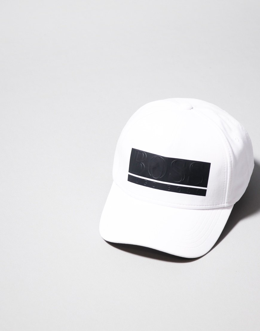 BOSS Stretch Fabric Raised Logo Cap White