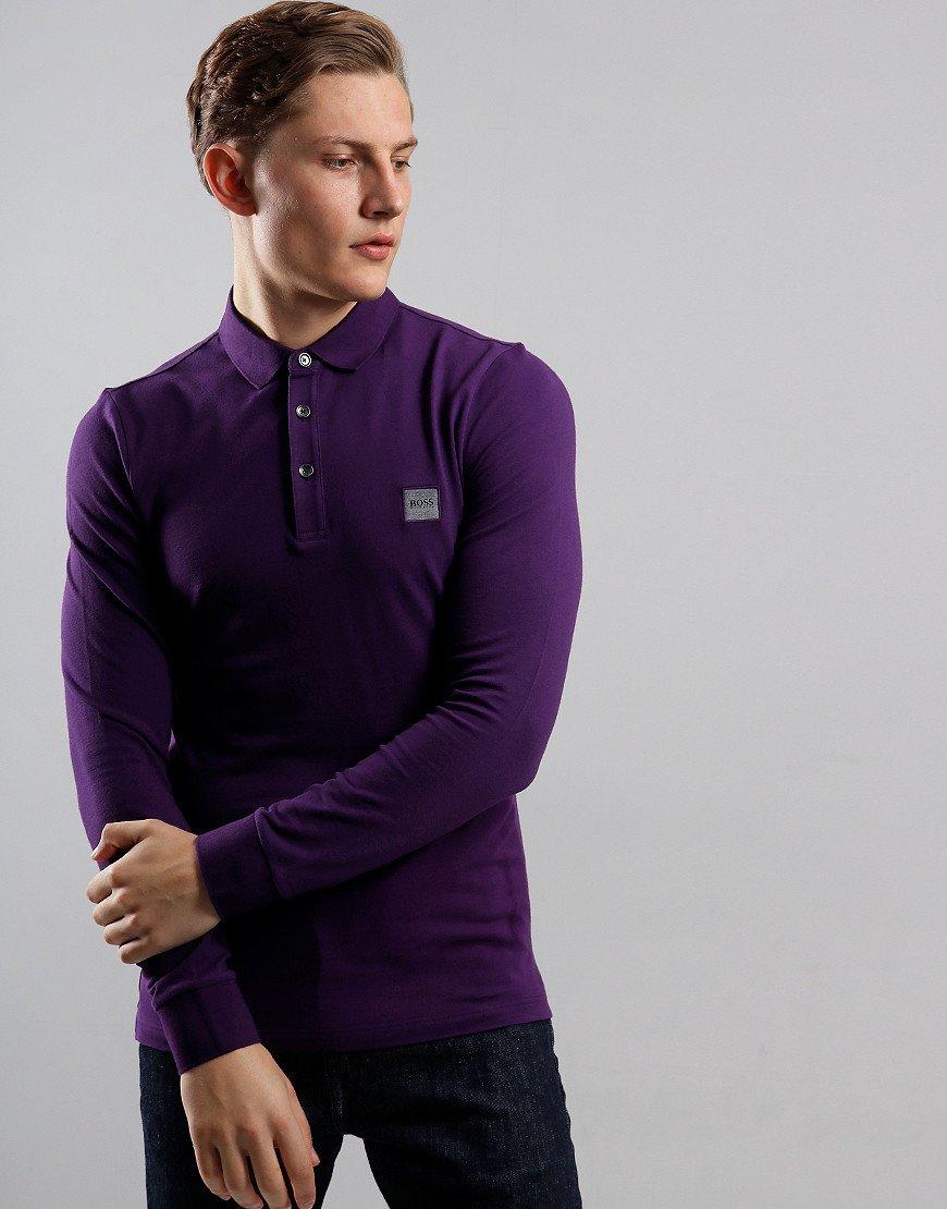 BOSS Passerby Long Sleeve Polo Shirt Dark Purple